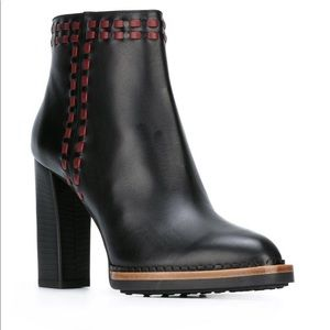 NWOT Tod's Stitched Black Leather Ankle Boots